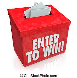 raffle, boîte, billets loterie, entrer, formes, gagner, entrée, rouges