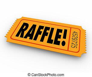 raffle, mot, prix, concours, gagnant, entrer, billet, dessin