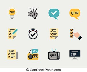 Raffle prizes and quiz flat icons