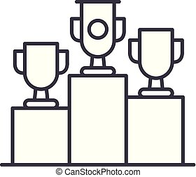 Raffle prizes line icon concept. Raffle prizes vector linear...