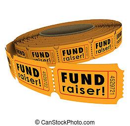 raffle, rouleau, 50, cinquante, fundraiser, lun, billet, événement, élévation, charité