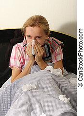 raffreddato, donna, 3, letto