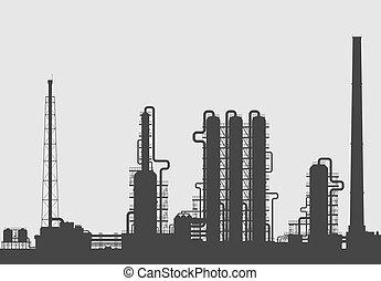 rafineria, roślina, nafta, silhouette., chemiczny, albo