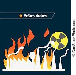 rafineria, wypadek, wektor