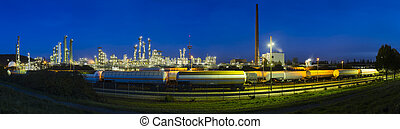 rafinerie, panoráma, v noci