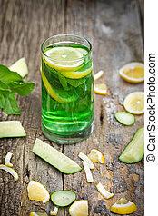 rafraîchissant, boisson, -, sain, vert, boisson
