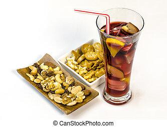 rafraîchissant, boisson, sangria, glace, fruits., espagne, typique