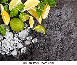 rafraîchissant, ingrédients, citron, foyer, glace écrasée,...