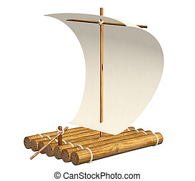 3d self-made wooden raft with sail from a paper