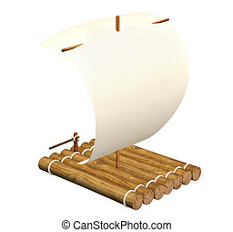 Raft - 3d self-made wooden raft with sail from a paper