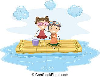 Raft Fishing - Illustration of Kids Fishing from a Raft