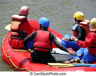 Rafting down the Animas River through Durango, Colorado