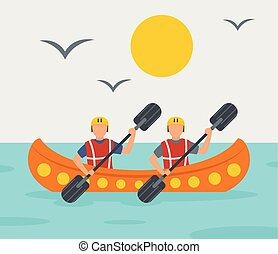 Rafting adventure background, flat style