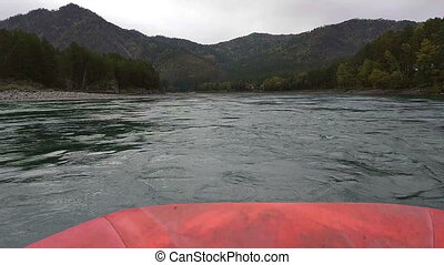 Rafting and boating on the Katun River in the Altai in...