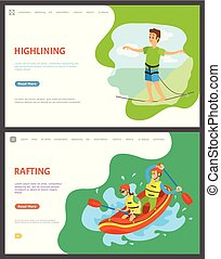 Rafting and Highlining People, Summer Hobby Set