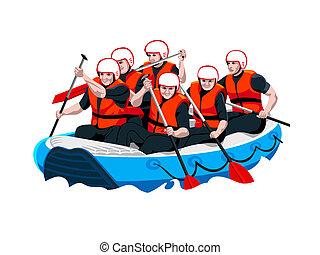 rafting, equipe