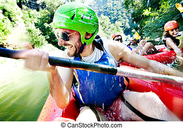 rafting excitement - Excited male having fun, laughing on a ...