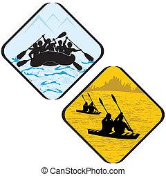 rafting, icône, signe, aviron, pictogram., portez symbole, kayak, eau mer