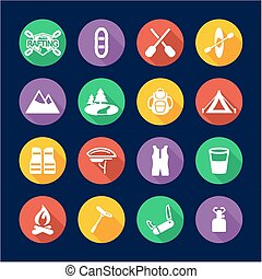Rafting Icons Flat Design Circle - This image is a...