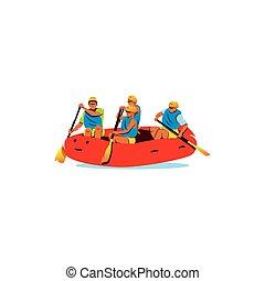 rafting., illustration., vecteur