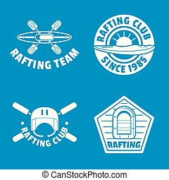Rafting kayak canoe logo icons set, simple style