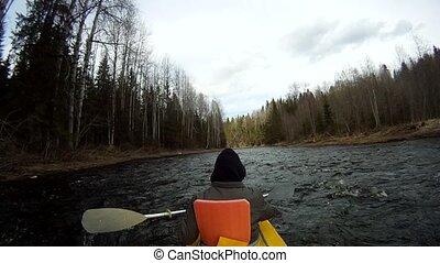 rafting on a kayak