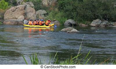 Rafting on fast river (Full HD)