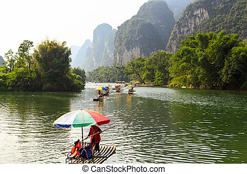 Rafting on the Li River in China