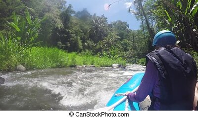 Rafting on the mountain river in Indonesia. - Rafting in the...