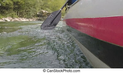 Rafting on the river Tara in the summer, Montenegro. paddle...