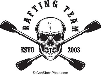 Rafting team. Emblem template with skull, crossed paddles and mountain. Design element for poster, card, banner, flyer, t shirt. Vector illustration