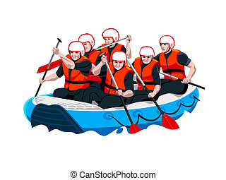 Rafting team - White water rafting men and women team