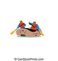Rafting. Vector Illustration.