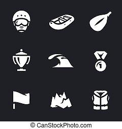 rafting, vetorial, jogo, icons.