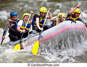 rafting, whitewater, grupo, pessoas