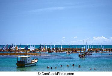 Rafts in a tropical beach in Brazil