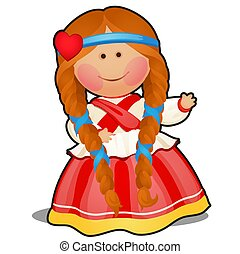 Rag doll in the form of a girl in Russian folk clothes...