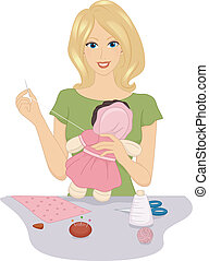 Rag Doll Making - Illustration Featuring a Woman Making a...