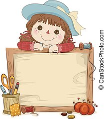Illustration of a Rag Doll Sitting Behind a Wooden Frame