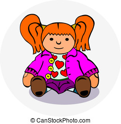 Rag doll - Sitting rag doll. Without gradients, easy to...