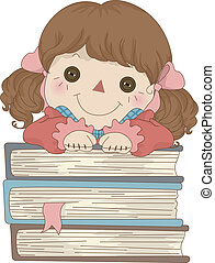 Illustration of Rag Doll with hands on a pile of Books