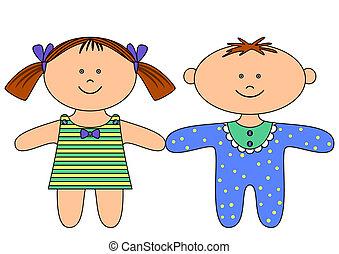 Rag dolls, boy and girl - Toys, little ragdoll boy and...