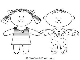 Rag dolls, contours - Toys: smiling little ragdoll boy and...