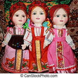 Traditional Russian rag dolls in native costumes