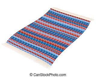 Rag Rug Red Blue Vintage Carpet