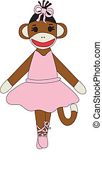 Monkey rag doll dressed in tutu, Vector pink dress,