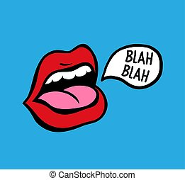 ragasztás, művészet, lips., váratlanul, vektor, beszélő, nyelv, piros, ki