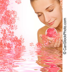 ragazza, acqua, palla, bagno, bello, aroma, reso