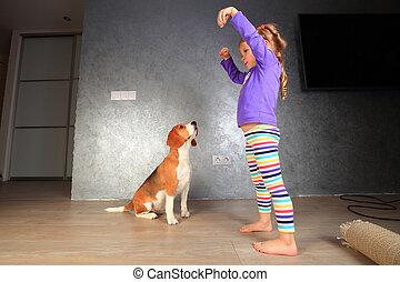 ragazza, addestramento, cane