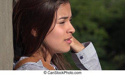 ragazza adolescente, agitato, pianto